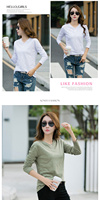 The new 2019 han edition dress made of pure cotton blouse early autumn render long sleeve T shirt
