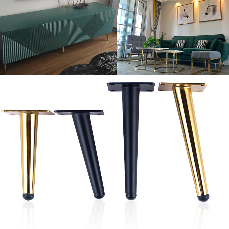 4Pcs/lot Furniture Table Legs Stainless Steel TV Cabinet Foot Sofa Leg  Hardware Cabinet Feet Cone Leg  With Mounting Screws