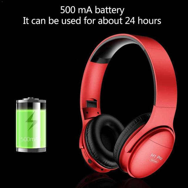 H1 Pro Bluetooth Headphones HIFI Stereo Wireless Earphone Mic Card Gaming Canceling Support with Over-ear Headsets Noise TF M9Z9