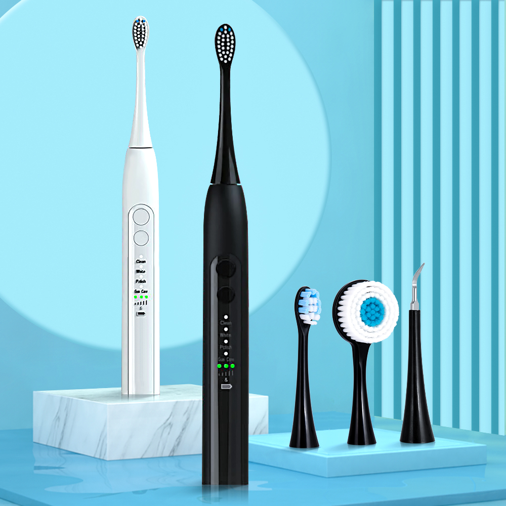 VIP Sonic Electric Toothbrush Rechargeable 12 Mode Ultrasonic Automatic Brush Face Cleansing Brush Head Dental Scaler Machine