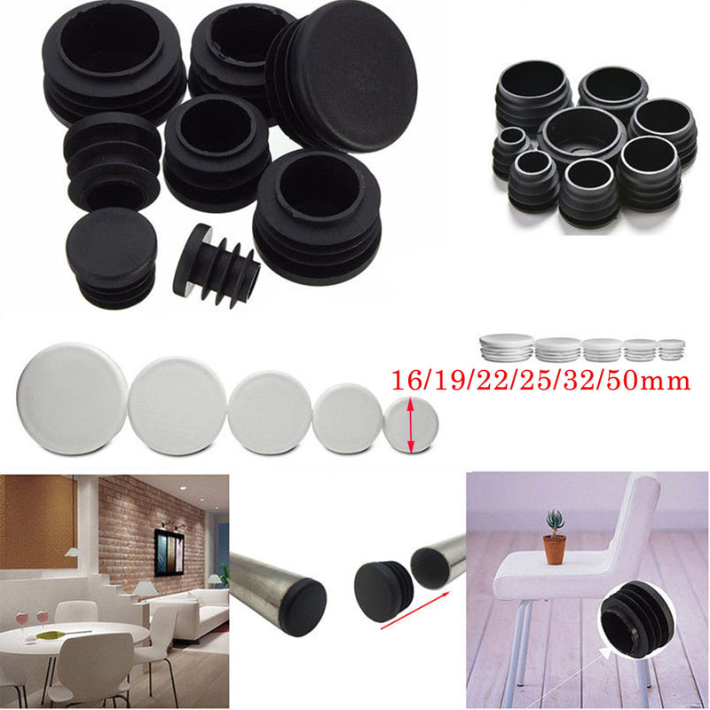 4pcs Round Plastic White Black Blanking End Cap Caps Tube Pipe Inserts Plug Bung For Furniture Chair Table Steel Leg Protector