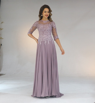 2020 Chiffon Pleated Lace Applique A Line With 1/2 Sleeves Mother Of The Bride Dress Long Vestido De Festa Longo
