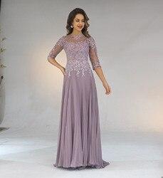 2020 Chiffon Plissee Spitze Applique EINE Linie Mit 1/2 Ärmeln Mutter Der Braut Kleid Lange Vestido De Festa Longo
