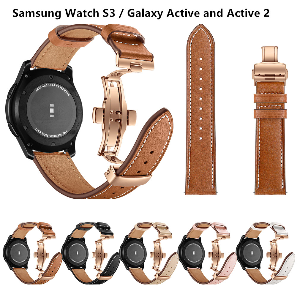 Butterfly Buckle Leather Strap For Samsung Galaxy Watch Active1 2/S3/S2/Galaxy Watch 46mm 42mm For Huawei Watch GT/GT2 46mm 42mm