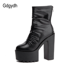 Gdgydh 2021 New Autumn Winter Platform Boots High Heels Back Zipper Black White Short Boots For Women Waterproof Gothic Shoes