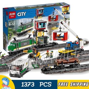 1373PCS Cargo Train Remote Control Motorized Engine Log Crane wagon Figure Building Blocks Toys  Compatible with Lago