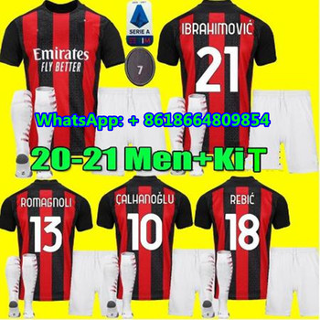 Adultos KIT IBRAHIMOVIC Milán 20 21 nuevo AC camisetas de fútbol 2020 2021 PIATEK camisa PAQUETA SUSO REBIC CALDARA camiseta de fútbol