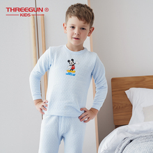 THREEGUN KIDS X DISNEY Mickey Mouse Boy Cotton Warm Thermal Underwear Set Toddler Boys Winter Clothes Kids
