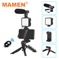 MAMEN смартфон Vlogging комплект видео Запись оборудование с штатив заполнить светильник затвора для Камера Youtube Vlogger комплект