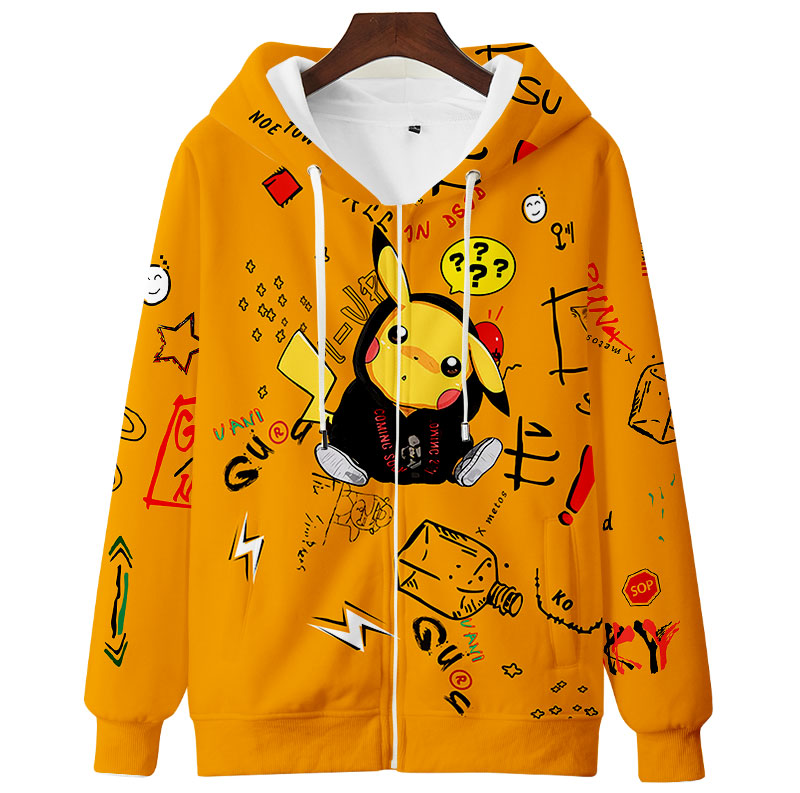 Teens Men Women Cute Hoodie Sweatshirt 3D Casual Zipper Anime Hoodies Pollover Yellow Harajuku Streetwear Spring Autumn 1