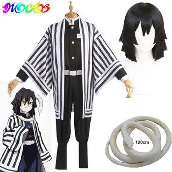 Diecezja Anime Demon Slayer Kimetsu nie Yaiba Iguro Obanai Cosplay peruki kostiumy biały wąż rekwizyty tanie i dobre opinie Akcesoria Unisex Dla dorosłych Nakrycia głowy 20190918 Poliester Kimetsu No Yaiba Halloween party Iguro Obanai cosplay props