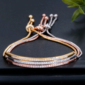 Bracelets Adjustable Bangle For Women Captivate Bar Slider Brilliant Rose Gold Color Elegant Jewelry New Arrive Hot Sale image