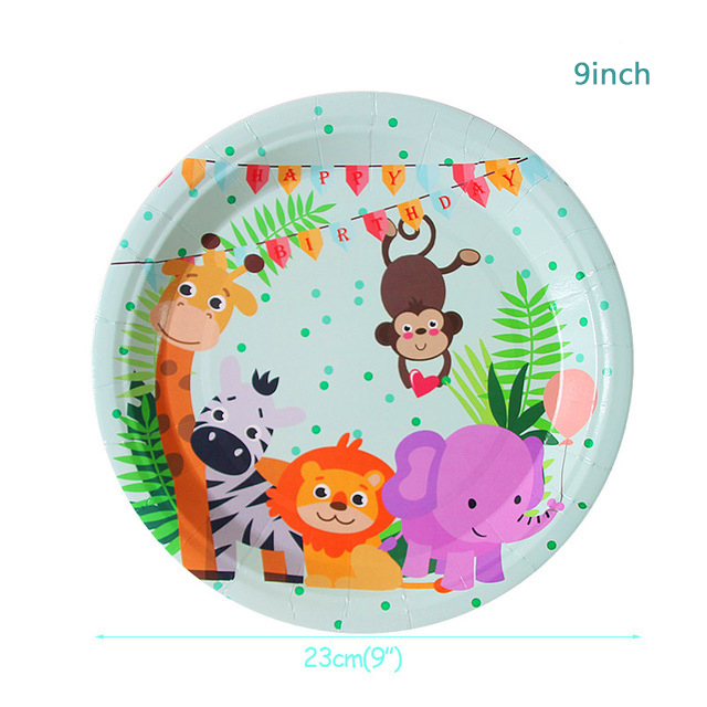 Jungle Animal Birthday Party Disposable Tableware Forest Friends Safari Zoo Theme Paper Cup Plate Napkin Baby Shower Supplies image