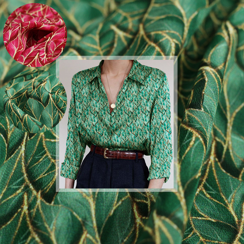 Red Raspberry 12momme Red Green Leaves Digital Printed CrepeDeChine Silk Materials Summer Women Dress Sewing Clothe Freeshipping