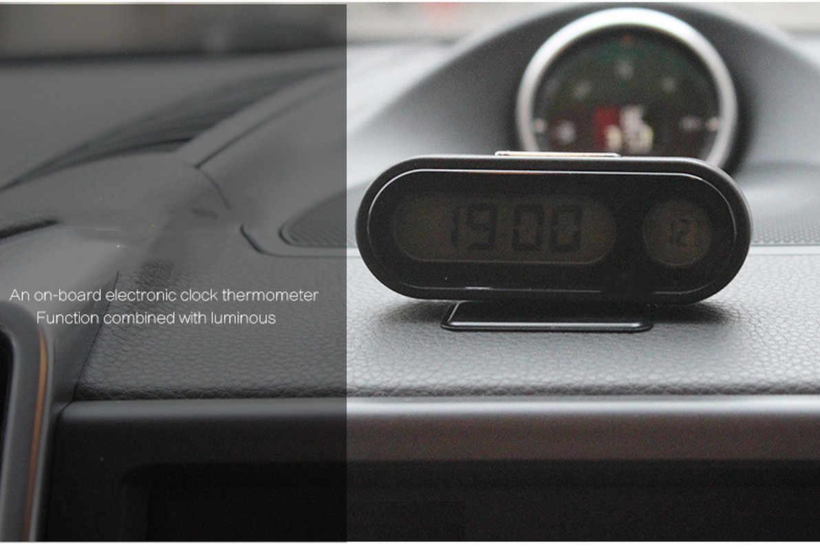 Portátil 2 em 1 carro digital lcd relógio & display de temperatura relógios painel automático backlight tela eletrônica temperatura relógio