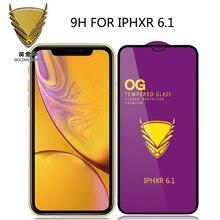 100pcs armadura dourada og cola completa curvada grande para iphone 12 pro max/12 mini/11 pro/xr/xs max/678 plus/5S de vidro temperado
