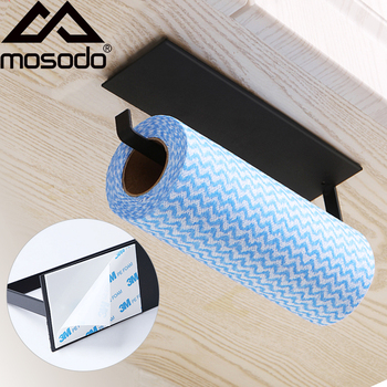 Mosodo Non perforated paper towel holder toilet hanger roll fresh film storage rack wall hanging shelf - discount item  38% OFF Bathroom Fixture