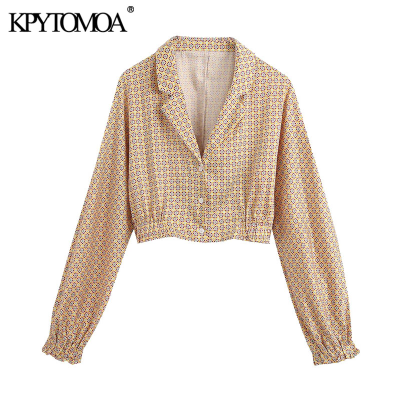 KPYTOMOA Women 2020 Fashion Geometric Print Cropped Blouses Vintage Lapel Collar Long Sleeve Female Shirts Blusas Chic Tops
