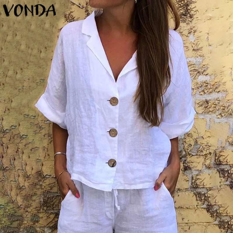 VONDA 2020 Elegant Blouses Sexy V Neck 3/4 Sleeve White Shirts Casual Solid Party Tops Plus Size Bohemian Button Blusas Femme