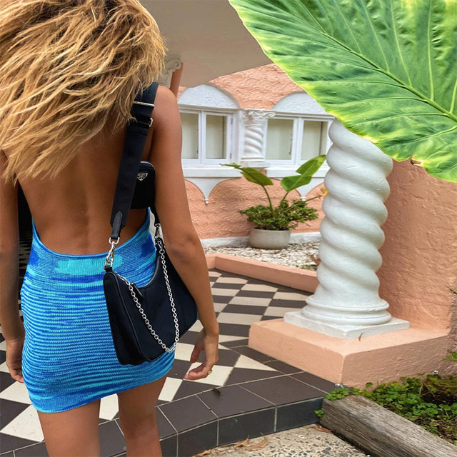 2021 Fashion Knitted Summer Dress Women Sleeveless Hot Sexy Backless Halter Mini Dresses Bodycon Chic Beach Dress 3