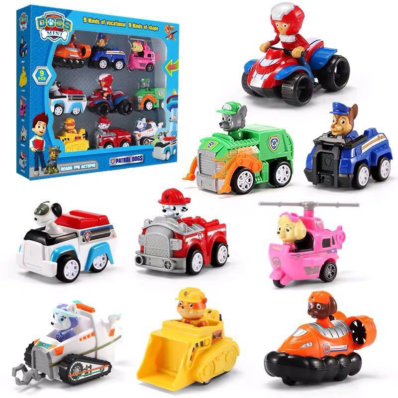 6pcs 7pcs 9pcs Paw Patrol Cars Toys Set With Pull-Back Function Vehicle Set Toy Gift Chase Rubble Skye