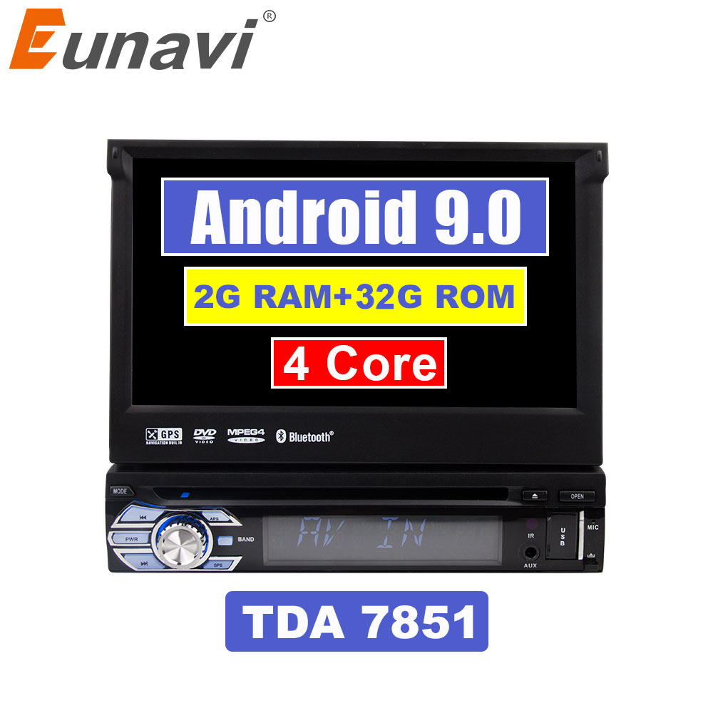 Eunavi 7'' Universal 1 din Android 9.0 Quad Core Car DVD player GPS Navigation with Wifi Radio 2GB RAM 16GB Steering wheel RDS image