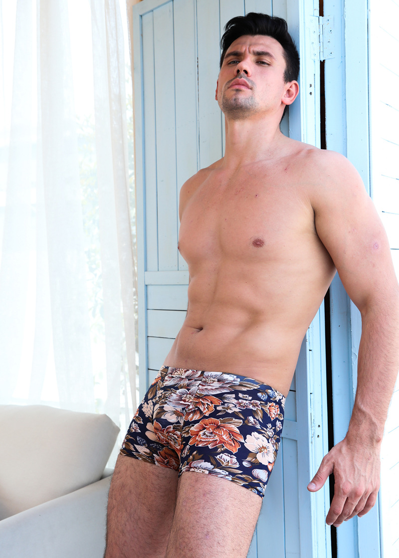 Ultra-thin Ice Silk Printing Panties For Men Cool Summer Breathable Boxer Pants Fashion Plus Size