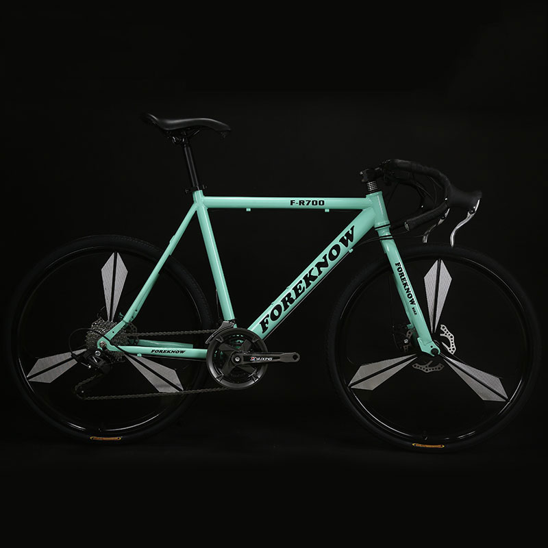 Cycling Bicycle Road Bike One Wheel 27 Speed Bend Fixed Gear Adult Double Disc Brake Solid Tire Student
