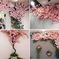 Искусственное вишневое дерево, розовая ветка вишневого дерева, Шелковый цветок «сделай сам», свадебное украшение, искусственный цветок на ...
