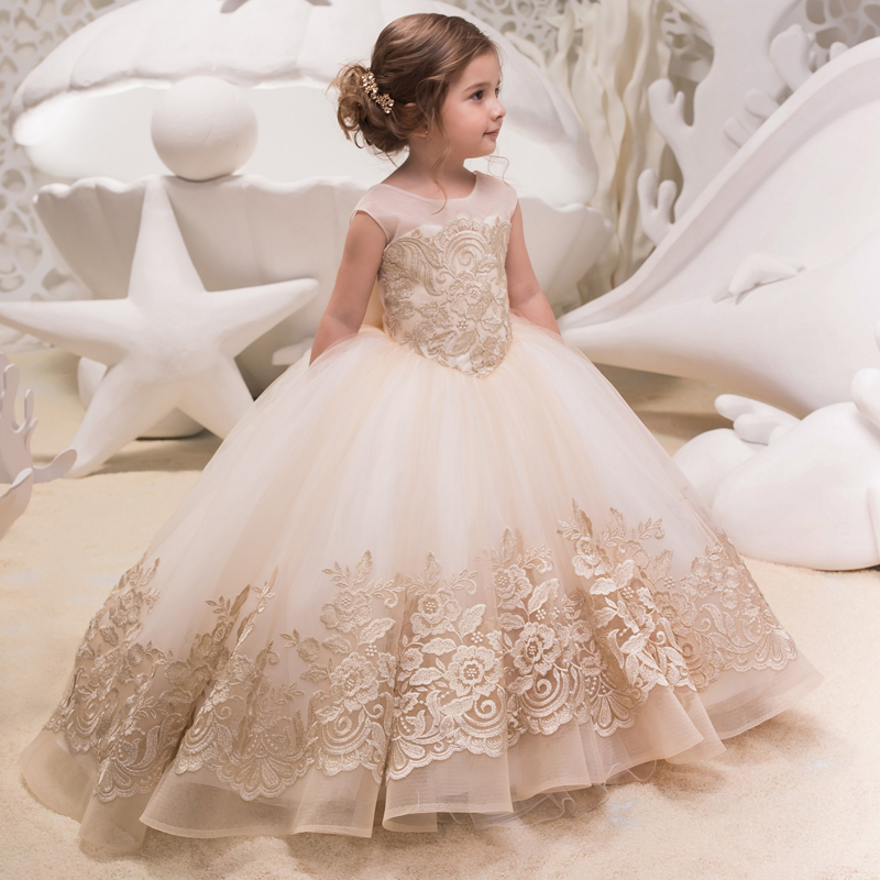 Champagne 2019   Flower     Girl     Dresses   For Weddings Ball Gown Cap Sleeves Tulle Appliques Long First Communion   Dresses   Little   Girl