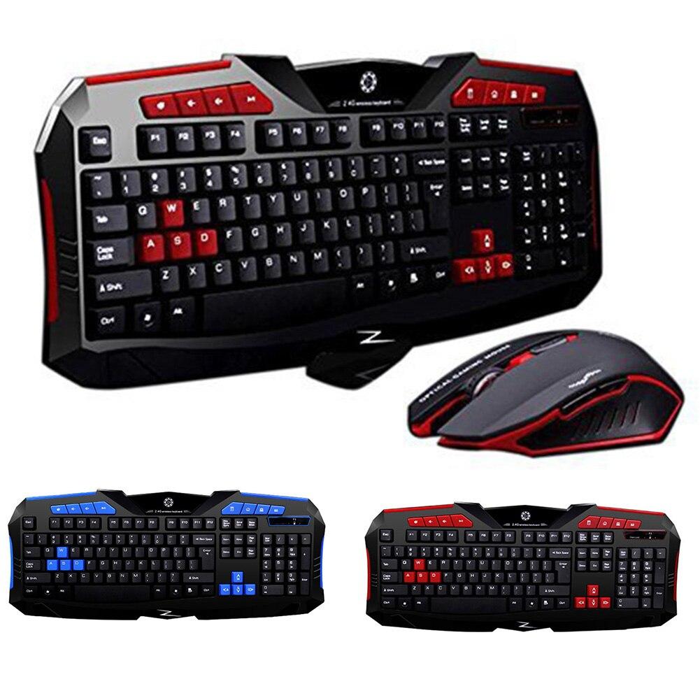 3pcs/1set F1 Wireless Keyboard Mouse USB Gaming PC Kit Gamer For Game Home Office Laptop Desktop Ergonomic 2400dpi Waterproof