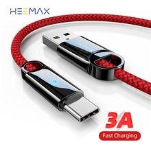 HEEMAX-Cable USB tipo C de 0,3 m/1m/2m, Cable de carga rápida 3A para Samsung S10, S9, Xiaomi, Huawei Note 7, Cable cargador de USB-C de datos