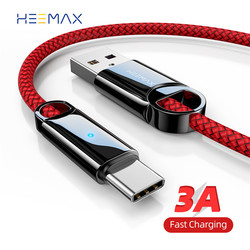 HEEMAX 0.3m/1m/2m USB Type C Cable 3A Fast USB Charge Wire for Samsung S10 S9 Xiaomi Huawei Note 7 Data USB-C Cable Charger Cord