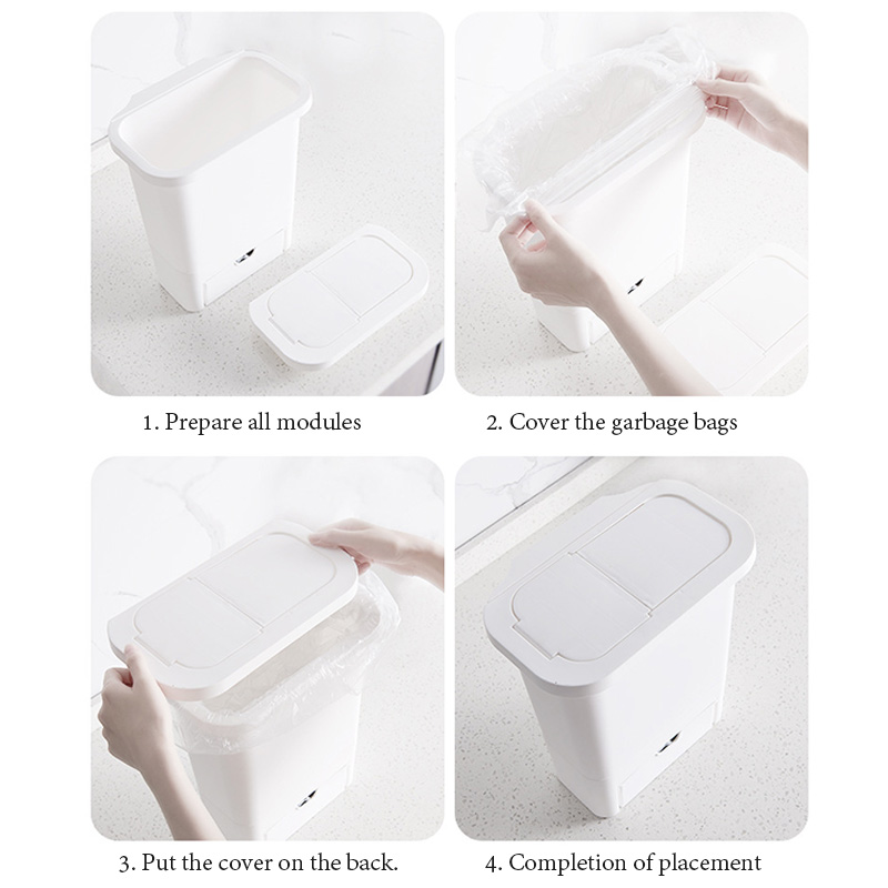 Hanging Trash Can with Lid Kitchen Cabinet Door and Wall-Mounted Waste Baskets 4
