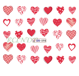 Nail sticker art decoration slider love heart adhesive design Water decals manicure lacquer accessoires polish foil(China)