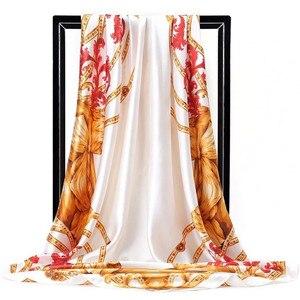 Image 3 - 실크 스카프 여성 인쇄 머리 목 스퀘어 스카프 사무실 숙녀 목도리 Bandanna 90*90cm 이슬람 Hijab 손수건 머플러 풀라