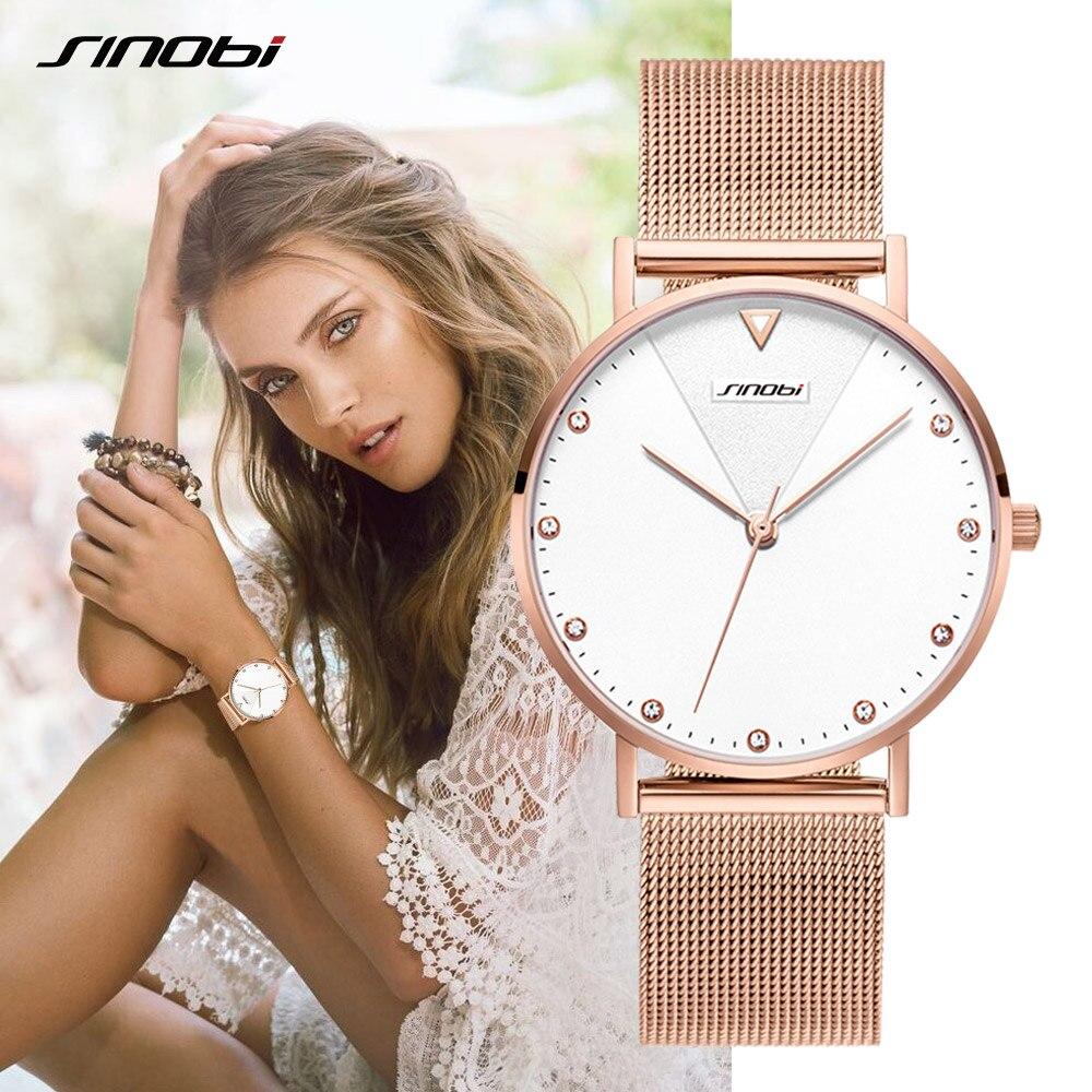 SINOBI 2021 Fashion Golden Women's Diamonds Wrist Watches Top Luxury Ladies Geneva Quartz Clock Female Bracelet Wristwatch reloj