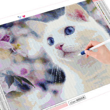 HUACAN DIY Diamond Painting Full Square round Cat 5D Diamond Art Embroidery Animal Wall Stickers