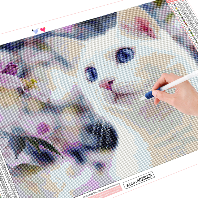 HUACAN DIY Diamond Painting Full Square round Cat 5D Diamond Art Embroidery Animal Wall Stickers Home