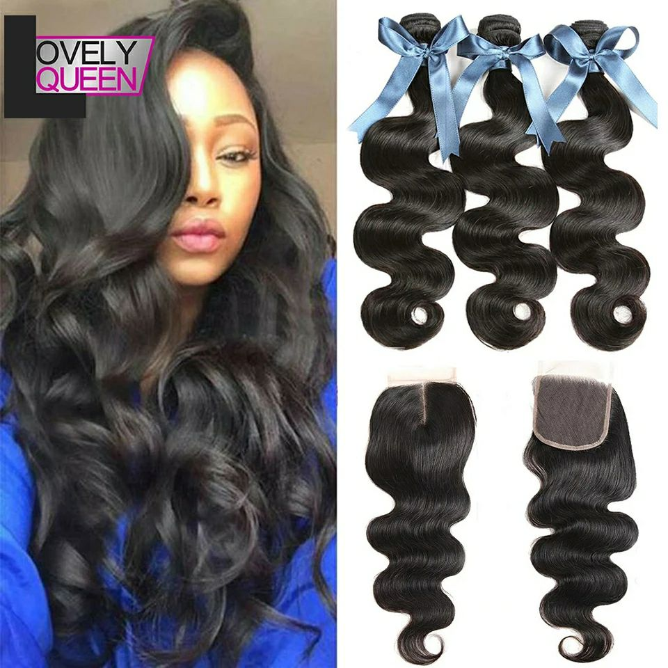 Body Wave Bundles With Closure Brazilian Hair Weave 3 Bundles With Closure Human Hair Bundles With Closure 30 Inch Bundles