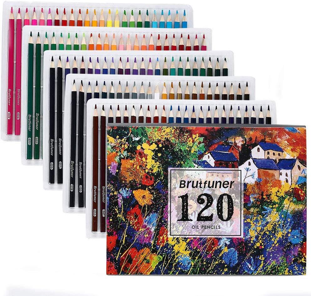 Brutfuner 120/160 Colors Professional Oil Color Pencils Set Artist Painting Sketching Wood Color Pencil School Art Supplies
