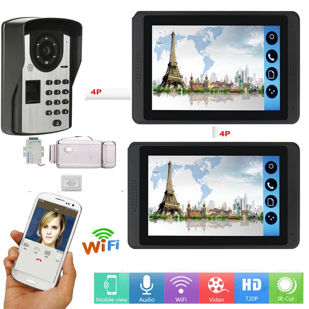 7 Inch Wired / Wireless Wifi Password Video Door Phone Doorbell Intercom System With Electric Lock+ IR HD 1000TV Camera