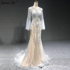 Image 1 - Sereine colline élégant gris sirène de luxe manches longues 2020 perles tenue de fête Fromal robe de soirée robes pour les femmes LA70289