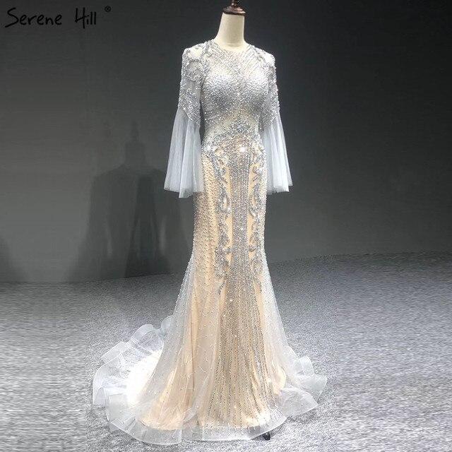 Sereine colline élégant gris sirène de luxe manches longues 2020 perles tenue de fête Fromal robe de soirée robes pour les femmes LA70289