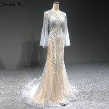 Serene Hill elegancka szara syrenka luksusowe długie rękawy 2020 frezowanie ubrania imprezowe Fromal suknie wieczorowe dla kobiet LA70289