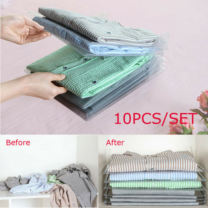 10 Pcs Reusable Household Fast Magical Clothes Fold Board Folder Closet Drawer Stack Organizer System Closet Storage Wardrobe