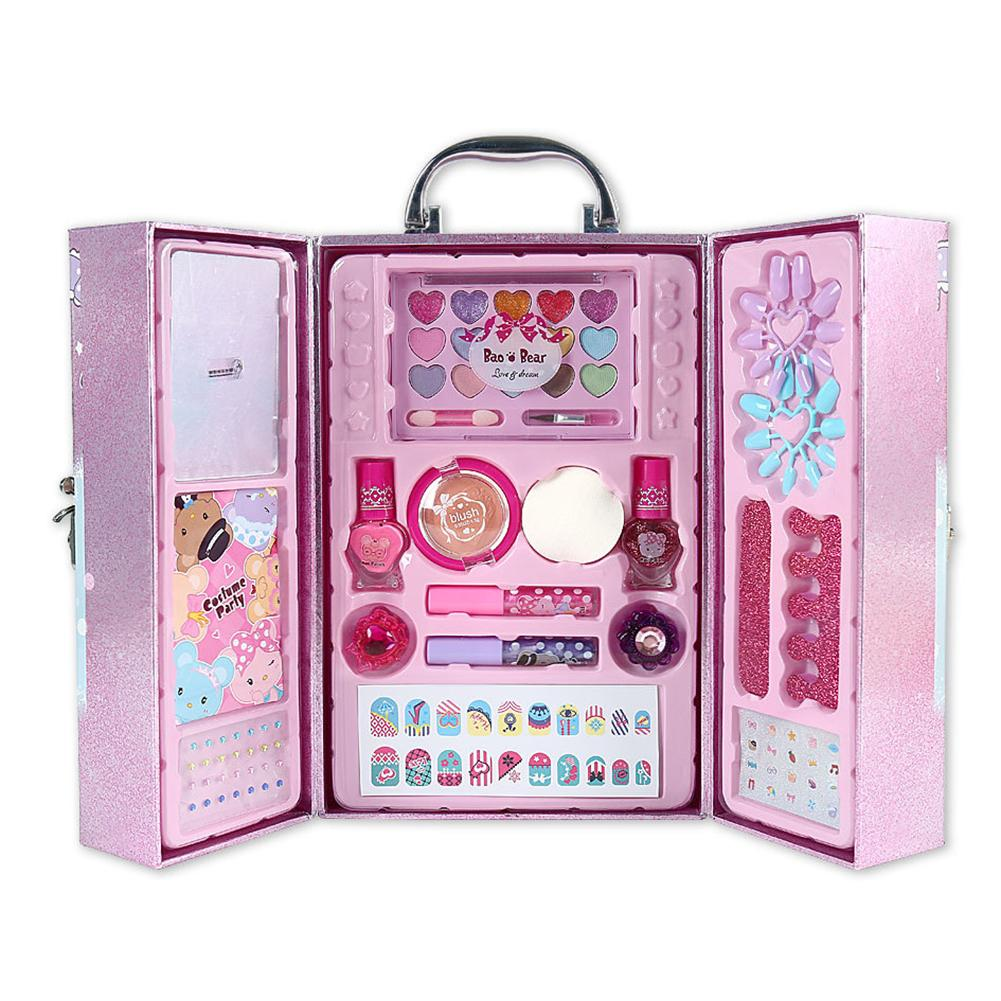 Children's Cosmetics Girls Play House Toys Portable Treasure Box Set Non-toxic Water-soluble Material Children Makeup Set