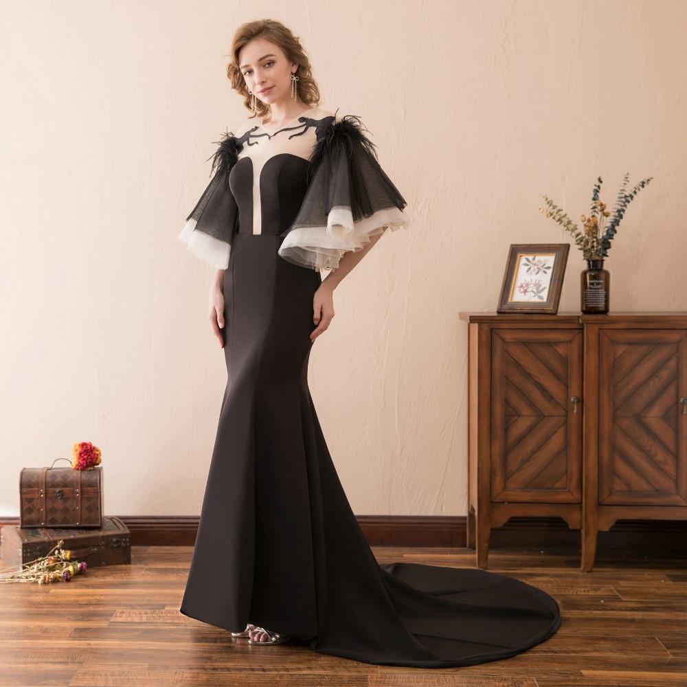 Robe de soirée noire sirène mère de mariée avec manches plumes Sexy dos nu marraine robes de soirée