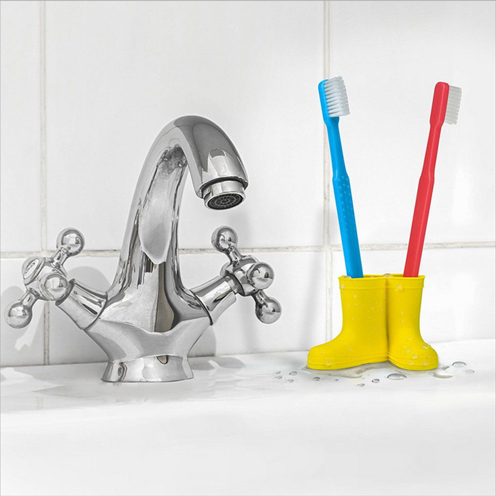 Toothbrush Holder Cartoon Cute Boots Shaped Silicone Toothbrush Holder Stand for Bathroom Tidy and Decoration Yellow image