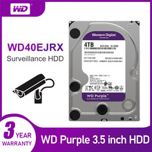 Диск Жесткий WD Purple, 4 ТБ, 5400 об/мин, класс SATA, 6 ГБ/сек. 64 Мб кэш-памяти, 3,5 дюйма, WD40EJRX, ip-камера